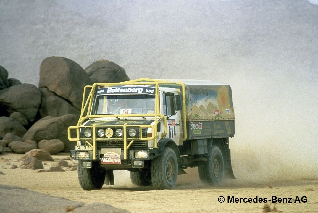 mercedes benz unimog u 1300 l, series 435 rally paris dakar 1985