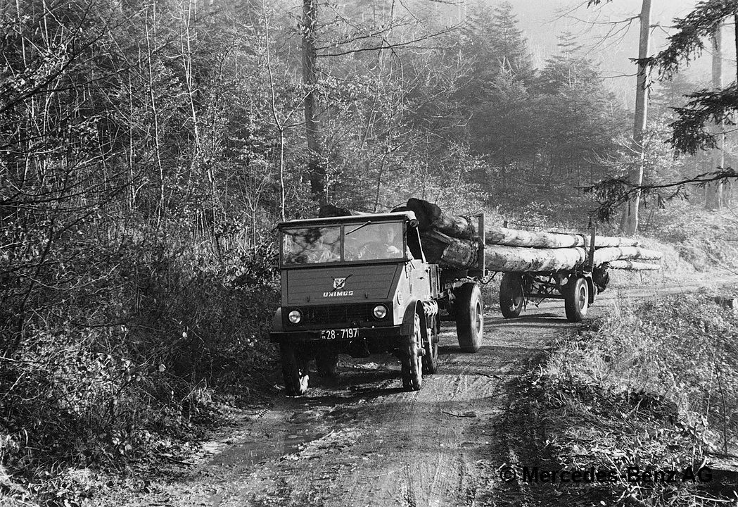 unimog u25, model series 2010 transporting logs