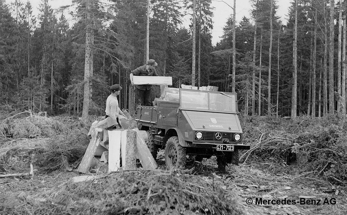 unimog u25, model series 401 transporting cut wood