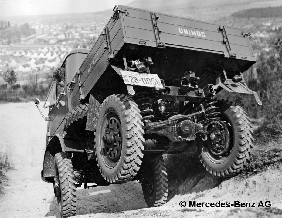 unimog u25 series 401 during an off road demonstration on the sauberg testing grounds near gaggenau