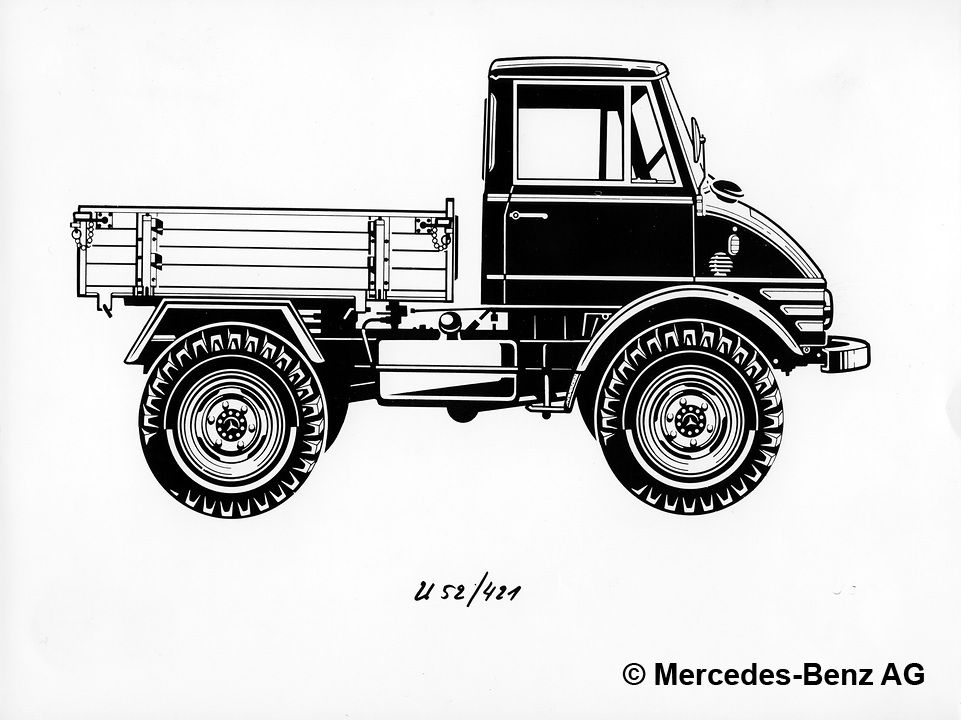 unimog u52 model series 421 with enclosed cab, drawing of the side view