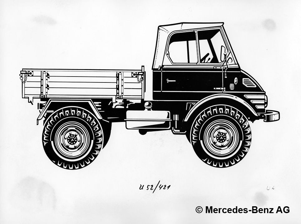 unimog u52 model series 421 with open cab, drawing of the side view