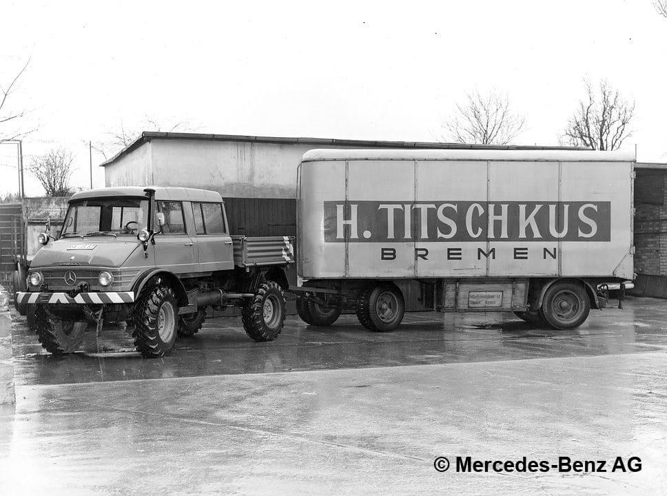 unimog u80 série 416 avec double cabine et remorque